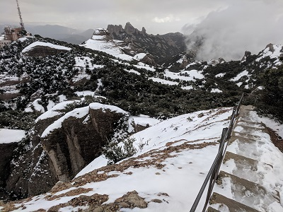 Snowy stairs of Sant Jeroni on the way down