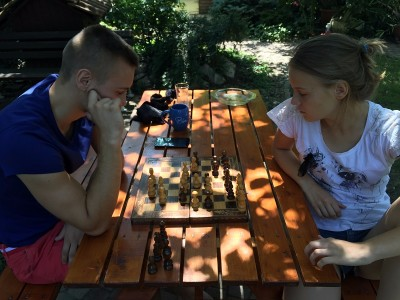 Chess party with my sister -  August, 2016