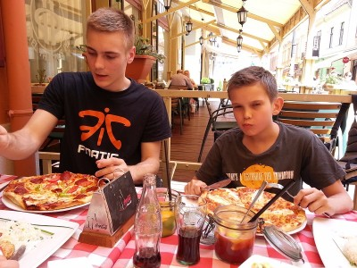 Pécs, Hungary -  Eating pizza with my brother in the summer of 2014
