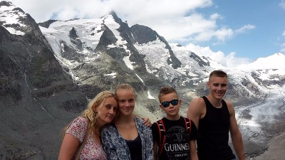 Heiligenblut am Großglockner parking lot, Austria - With my family on our 2015 vacation