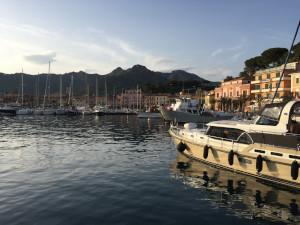 Porto Azzurro, Elba, Italy - Ships in the port of Porto Azzurro on the island of Elba, during my 2018 April tour to Italy.