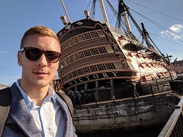 Porsmouth, United Kingdom - A selfie with Admiral Nelson's HMS Victory