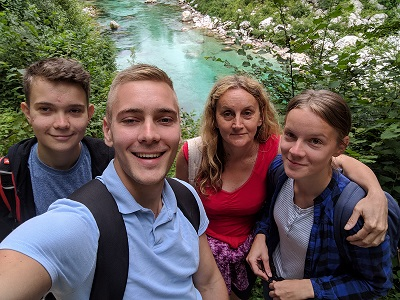 Slap Kozjak Waterfall Walk, Slovenia - Selfie with my mother and siblings during our vacation to Slovenia and Croatia.