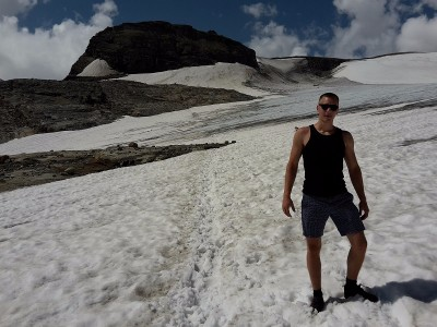 Heiligenblut am Großglockner, Austria -  Hiking sleeveless in snow with my father on our 2015 family vacation