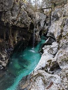 The river Soča near the town of Soča
