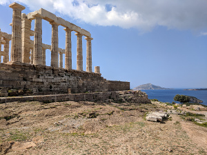 Sounion, Greece - The temple of Poseidon with the Mediterranean Sea in the background during my 2018 spring break vacation to Greece.