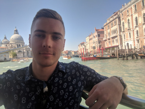 Grand Canal, Venice, Italy, Selfie on a boat during my 2018 April tour to Italy.